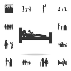 father falls asleep with a child icon. Detailed set of family icons. Premium graphic design. One of the collection icons for websites, web design, mobile app