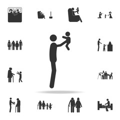 father holds the baby in his arms icon. Detailed set of family icons. Premium graphic design. One of the collection icons for websites, web design, mobile app