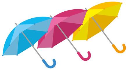 梅雨 開いている雨傘3本