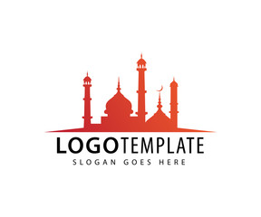 mosque with tower dome vector icon logo design