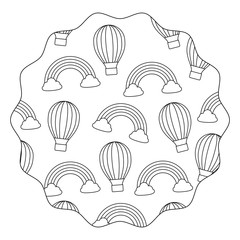 circular frame of hot air balloon and rainbow pattern over white background, vector illustration
