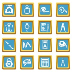Measure precision icons set sapphirine square vector