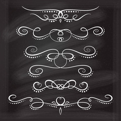 Vector calligraphic flourishes set on the chalkboard background.