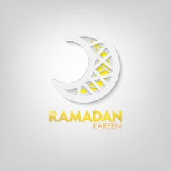 papercut moon with ramadan kareem gretting. beautiful 3D carving art. Vector Design.