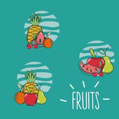 Set of fruits cartoons