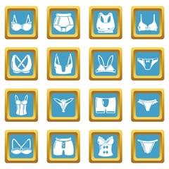 Underwear types icons set sapphirine square vector