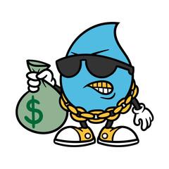 Cartoon Rapper Water Drop