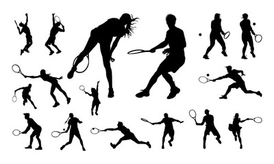 Set of Various Men and Women Silhouette vector, Tennis Sign and Symbol template