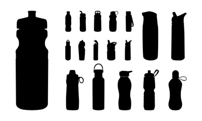 Set of Various Water Bottle Silhouette vector, Sport Water bottle, Drink Bottle
