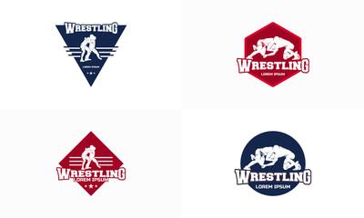 Set of Wrestling  Badge logo template vector, Wrestling Sticker logo vector