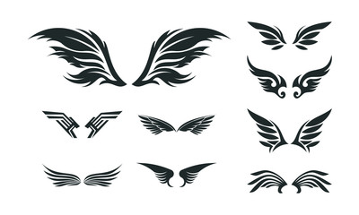 Set of Various Wing Silhouette vector, Wing Symbol illustration