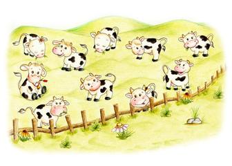 Ten cute pasture cows