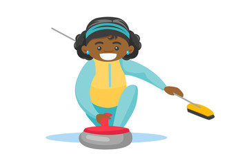 Black sportswoman playing curling on the ice rink. Curling player with a broom in hand delivering a stone and sliding over the ice. Vector cartoon illustration isolated on white background.
