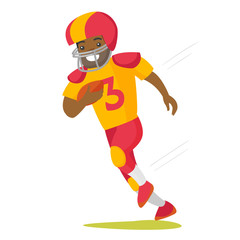 Black rugby player in helmet and uniform holding ball in hand. Full length of male american football player running with ball. Vector cartoon illustration isolated on white background.