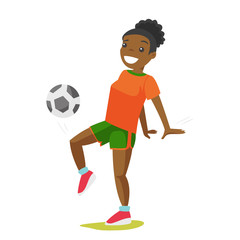 Young black football player with a ball. Professional sportsman playing soccer. Concept of health, sport and physical activity. Vector cartoon illustration isolated on white background.