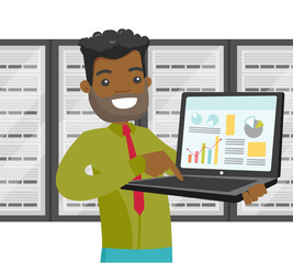 Black it engineer in server room with a computer in hands and servers on the background. Concept of data storage system and big data. Vector cartoon illustration isolated on white background.