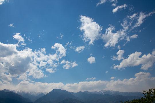 晴天と雲と山脈と