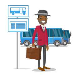 A black man waiting a bus on a stop with timetable. A caucasian male with a case waits in a bus station. Transportation of peoople concept. Vector cartoon illustration isolated on white background.