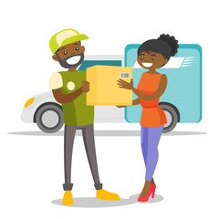 A black man courier delivers a boxed package to a woman. Courier service, delivery and transportation concept. Vector cartoon illustration isolated on white background.