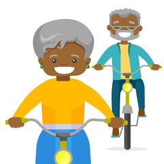 An old couple riding bikes. A healthy man and a woman use bike as a transport. Lifestyle, health and transportation concept. Vector cartoon illustration isolated on white background.