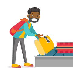 A black man taking his case from a luggage carousel in baggage claim of the airport. Baggage allowance, travel and transportation concept. Vector cartoon illustration isolated on white background.
