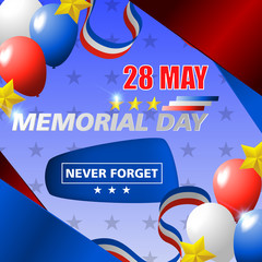 Happy usa memorial day, 28 of may. Design for greeting and sale promotion banner template illustration