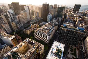 Wall Mural - Aerial View of Rio de Janeiro Downtown Buildings by Sunset