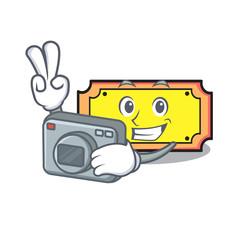 Photographer ticket mascot cartoon style