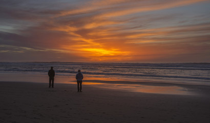 Beautiful red sunset at San Gregorio beach