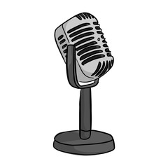 Retro style classic microphone with the word on the air vector illustration sketch doodle hand drawn with black lines isolated on white background