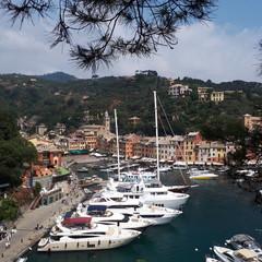 Portofino Harbour; marina; waterway; harbor; sky