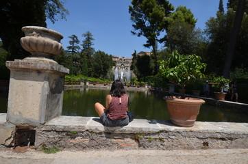 Villa d'Este; water; garden; plant; tree