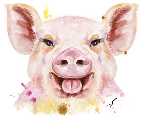 Watercolor portrait of smiling pig