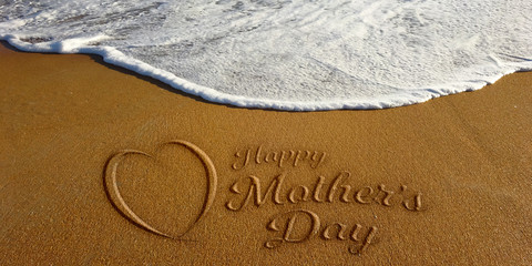 Mother's Day Heart Sign in Sand Beach. Photo Image