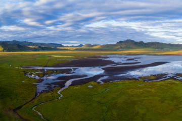 Coastline near Vik rocks  in Iceland , sunset time