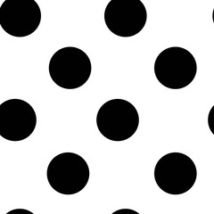 black circle seamless pattern on a white background