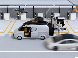 Delivery staff carrying package to car trunk in parking lot. Drone takes off from delivery van to delivering parcel. Concept for last one mile concept. 3D rendering image.