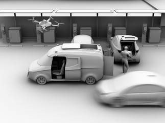 Clay rendering of delivery staff carrying package to blue car trunk in parking lot. Drone takes off from delivery van to delivering parcel. Concept for last one mile concept. 3D rendering image.
