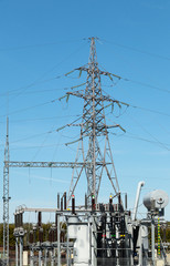 High power transformer station for industry on blue sky