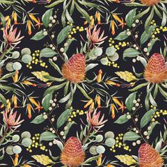 Watercolor australian banksia floral pattern