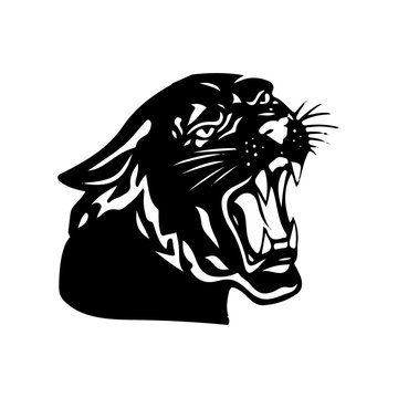 Aggressive black panther with open mouth, silhouette on white background,