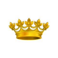 Realistic icon of shiny crown with golden gradient. Royal headdress for king or queen. Vector element for logo or emblem, certificate creation