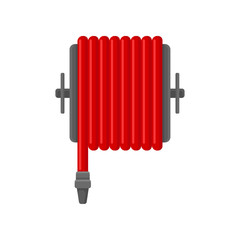 Flat vector icon of red water hose for fire fighting. Flame prevention tool. Object for concept about safety and firefighter job