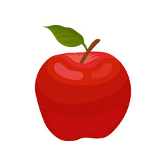 Bright red apple with little green leaf. Natural ingredient for summer fruit salad. Flat vector element for juice packaging