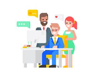 Teamwork - three positive businessmen