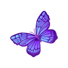 Beautiful purple butterfly with blue pattern on wings. Vector icon of flying insect. Element for card, notebook cover or poster
