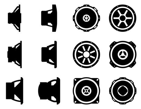 Set of various kinds of speaker driver. Silhouette vector