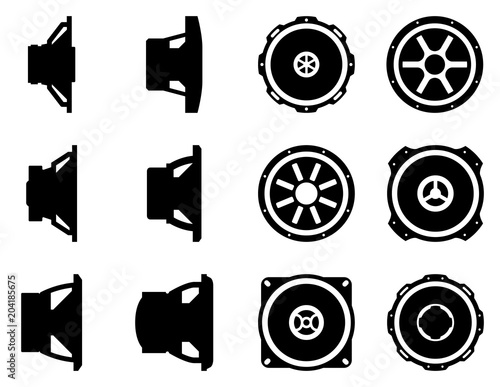 Set of various kinds of speaker driver  Silhouette vector