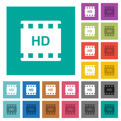 HD movie format square flat multi colored icons