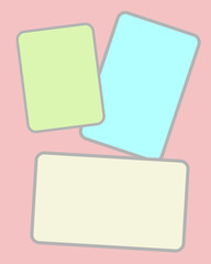 Three multi-colored paper sheets with blank space for notes, messages in pastel color.
